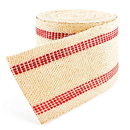 (Upholstery/Craft Jute Webbing (Burlap) 3.5 Inches X 10 Yards-Natural W/Red Stripes)