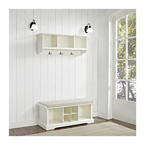 Crosley Furniture  Brennan Entryway Storage Bench and Hanging Shelf Set, White - Solid Hardwood and Veneer Construction Variety of Colors to Match any Décor Includes Two Wicker Storage Baskets - hall-trees, entryway-furniture-decor, entryway-laundry-room - 51pIDbLJBtL. SS570  -