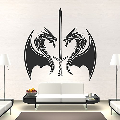 azutura Dragon Sword Wall Sticker Fantasy Monster Wall Decal Boys Bedroom Home Decor available in 5 Sizes and 25 Colours Medium Violet