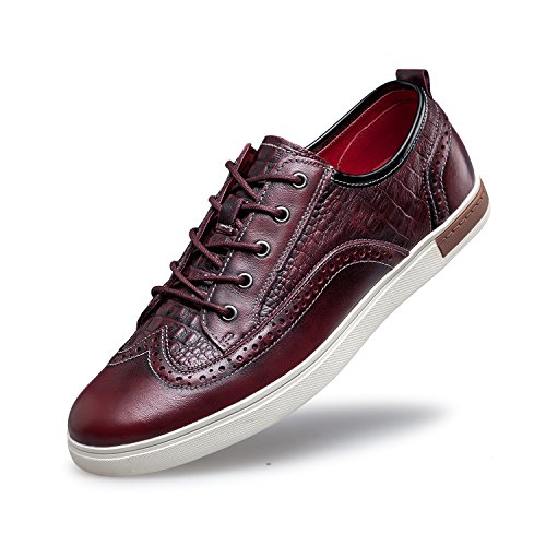 ZRO Men's Wingtip Casual Leather Oxford Sneaker Shoes Wine US 10 (Leather Pro Sneaker)