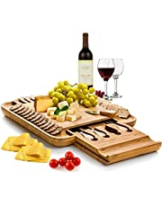 Dynamic Gear Bamboo Cheese Board Set with Cutlery in Slide-Out Drawer Including 4 Stainless Steel Knife and Serving Utensils