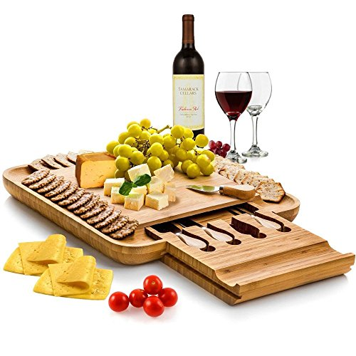 Bamboo Cheese Board with Cutlery Set, Wood Charcuterie Platter and Serving Meat Board with Slide-Out Drawer with 4 Stainless Steel Knife and Server Set - Perfect Gift Idea. By Bambusi -