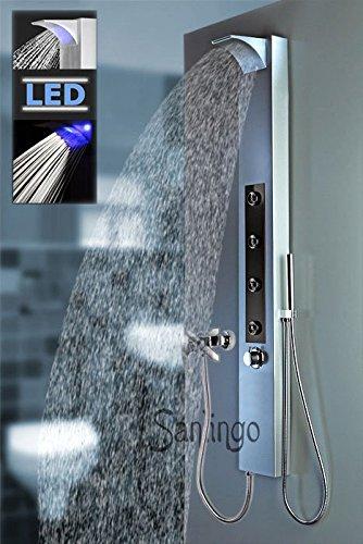 LED Colonna Doccia Cascata Pioggia Miscelatore Idromassaggio Doccetta  Alluminio Argento Sanlingo