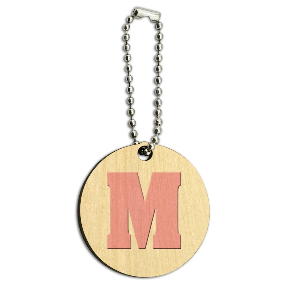 Letter M Initial Baby Girl Block Font Pink Shower Wood Wooden Round Key Chain