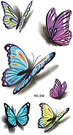 Etbotu - 1 hoja 3D colorida mariposa arte temporal tatuajes ...
