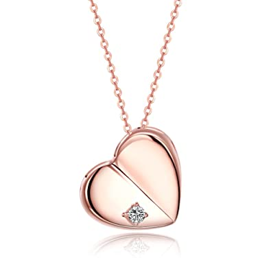FJYOURIA Women's Twisted Love Double Heart Pendant with Cubic Zirconia White/Gold Plated Infinity Love Necklaces uHQshOG