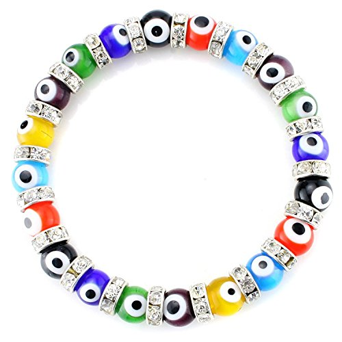 JewelrieShop Turkish Evil Eye Bracelet Murano Glass Beads Beaded Clear Crystal Spacer Bracelet for Women Girls (8mm Multi-Color Eye (Evil Eye Beaded Bracelet)