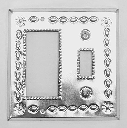 Rocker Combo Single (Tin Single Rocker Single Toggle Combo Cover Plate Beveled Shiny)