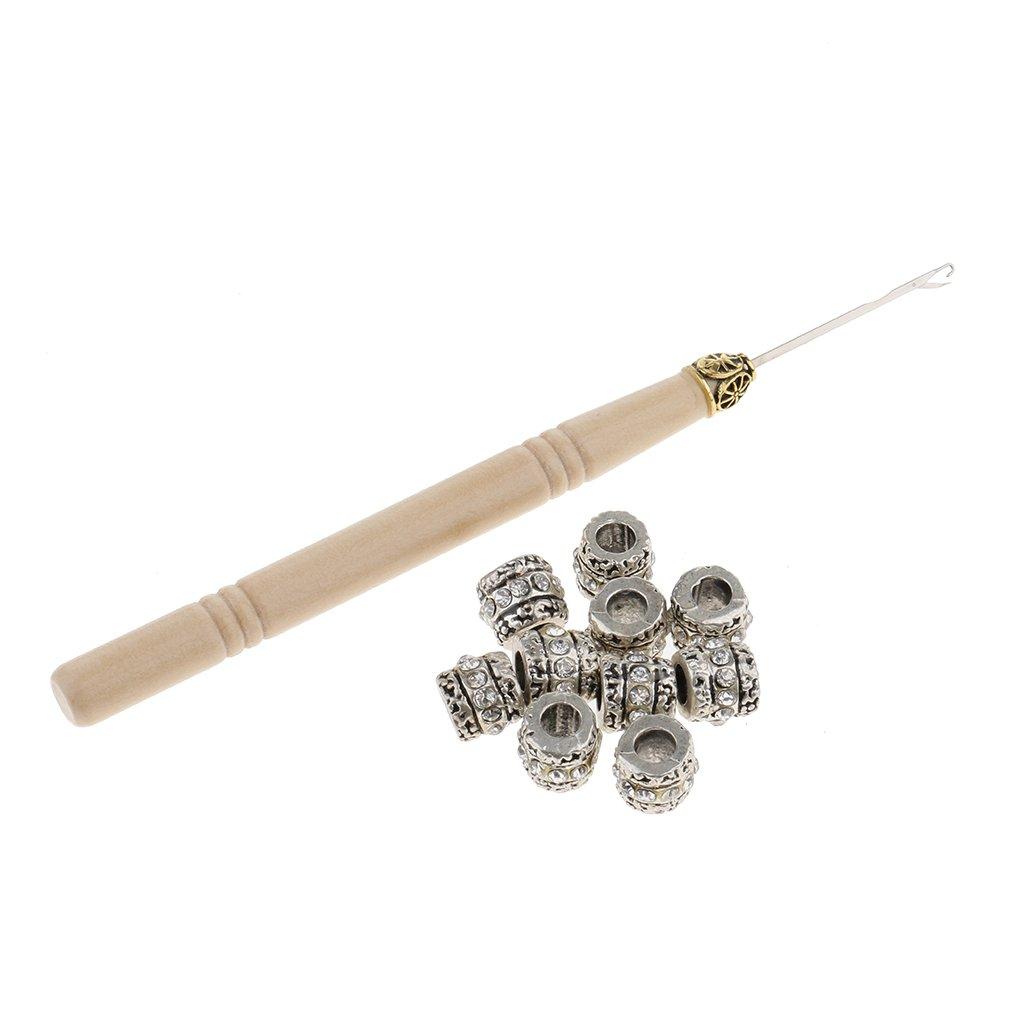 MagiDeal 10 PCS 5mm Silver Dreadlocks Braiding Beads Cuffs Tubes Hair Decoration Accessories +1 Pc Wood Latch Hook Crochet Needle non-brand