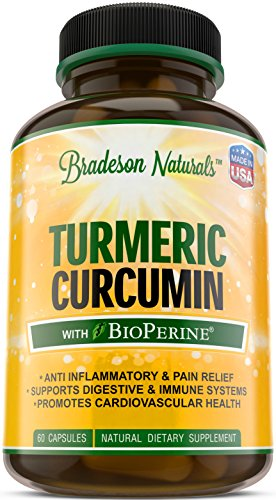 Turmeric Curcumin w/BioPerine by Bradeson Naturals – 60 capsules – Turmeric Root Extract, 95% Standardized Curcuminoids, Black Pepper Extract – Natural Anti-Inflammatory, Antioxidant & Joint Support