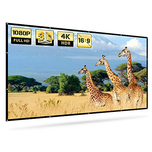 Projector Movie Screen for Indoor Outdoor, 120 Inches 16:9 HD, 3D, Portable and Foldable, Compact One-Piece Thicker Design, Multipurpose Support Rear and Front Projection, 160° Wide Viewing Angle