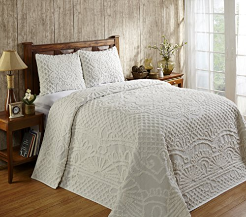 Better Trends / Pan Overseas 120 X 110 Inch Trevor Bedspread Set, King, (Tufted Chenille Bedding)