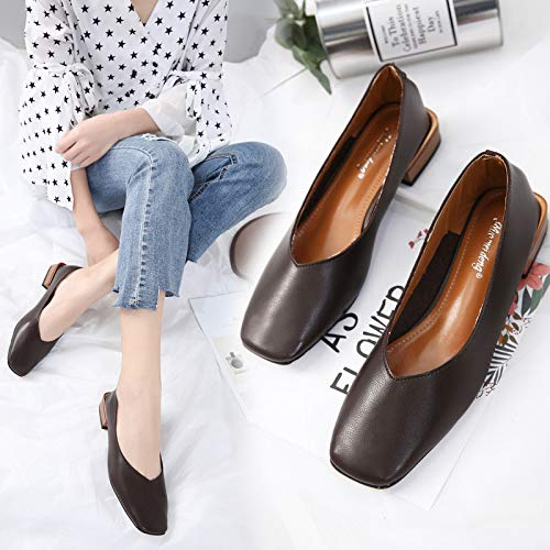 HRCxue High Heels Shallow Mouth, One Foot mit Square Oma Schuhe, Pendler Faule Square mit Head Damen Schuhe aac9bc