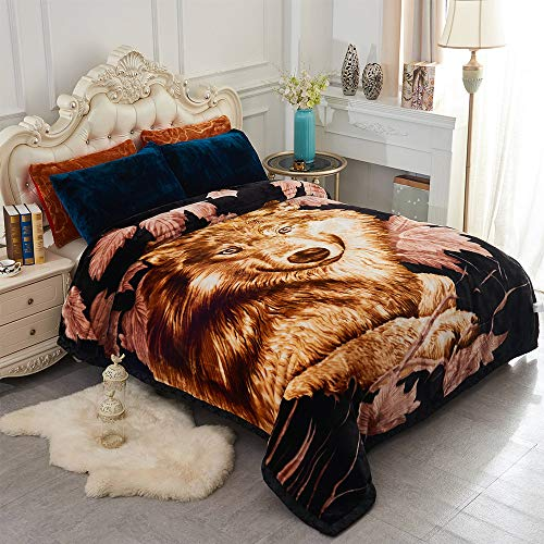 JML Heavy Korean Style Mink Fleece Blanket – 10lb 2 Ply Soft Thick Plush Bed Blanket for Autumn Winter (Wolf/Black, King)