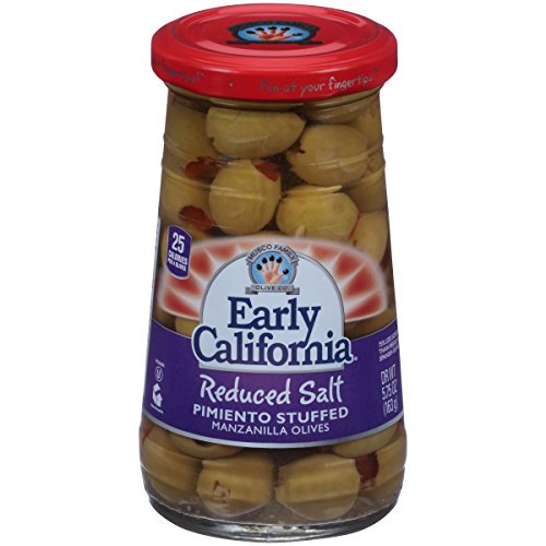 Olives Stuffed Pimiento (Early California (6) 5.75oz Reduced Salt Pimiento Stuffed Manzanilla Olives)