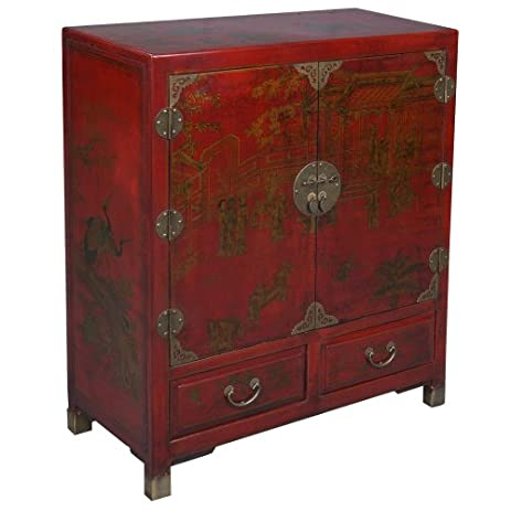 Superb EXP Handmade Oriental Furniture 38 Inch Antique Style Storage Cabinet, Red