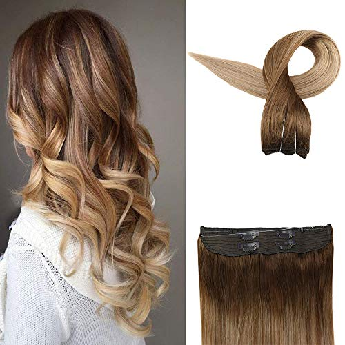 Easyouth Human Hair Halo Extensions 80g 16inch Color 10 Light Brown Fading to 14 Golden Blonde...
