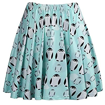 Fancyqube Women's Elastic Waist Cute Sloth Avocado Print Flared Mini Skirt