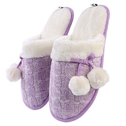 Aerusi Womens Tricot Chambre Floue Slip Sur Pantoufle Avec Pom Pom Et Polaire Doublure Lilas