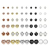 FUNRUN JEWELRY 30 Pairs Multiple Stud Earrings for Women Men Pearl Crystal Ball Piercing Earrings Set