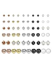 FUNRUN JEWELRY 30 Pairs Multiple Stud Earrings for Women Men Pearl Crystal Ball Piercing Earrings Set