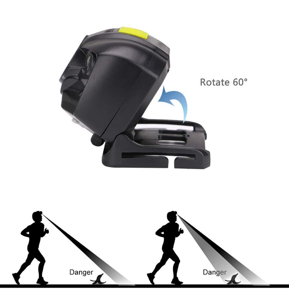 2 PCS Linterna frontal recargable USB Linterna frontal potente LED con pantalla de nivel de bater/ía,6 modos de iluminaci/ón,IPX4 a prueba de agua,Detector de movimiento para pesca,camping,ciclismo