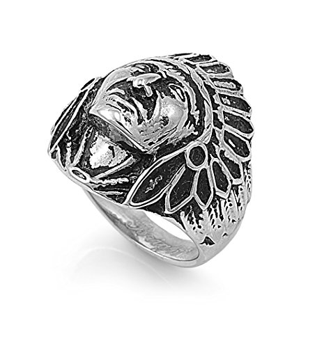 Indian Ladies American Rings (Stainless Steel Chief Native American Ring Size 13)