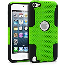 iPod Touch 5 Case, MagicMobile® Hybrid Impact Shockproof Hard Durable Armor Mesh Cover and Soft Silicone Skin Layer [ Green - Black ] Case With Screen Protector for iPod 5th Generation / Film and Pen Stylus