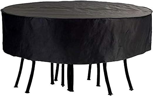 Juego de fundas para mesa redonda de jardín y patio al aire libre, impermeables, circulares, resistentes y transpirables, tela Oxford 6000D, color negro, 50.3*27.9 ...