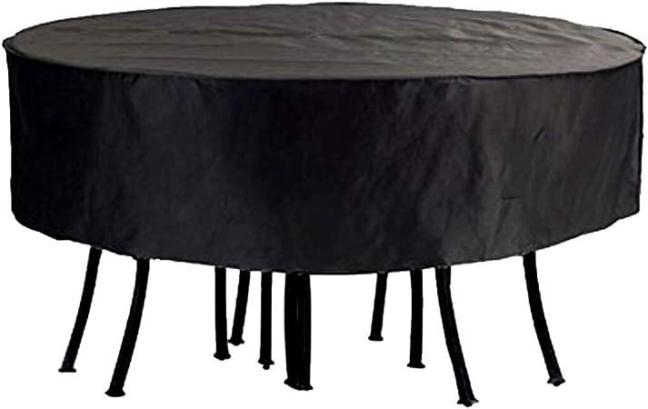 Juego de fundas para mesa redonda de jardín y patio al aire libre, impermeables, circulares, resistentes y transpirables, tela Oxford 6000D, color negro, 50.3*27.9 inch: Amazon.es: Hogar