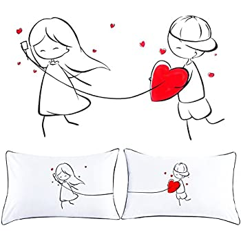 Couple Pillowcases, ProCIV Anniversary Gift for Couple Lovers, Valentines Day's Gift Wedding Decorations Standard Pillowcases Set of 2, White