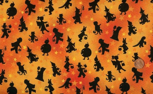 Marcus Brothers 'Tricks and Treats' Black Halloween Silhouettes on Orange Cotton Fabric - 2-yard 11-inch Piece]()