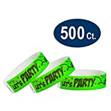 WristCo Let's Party 3/4'' Tyvek Wristbands - 500 Pack Paper Wristbands For Events
