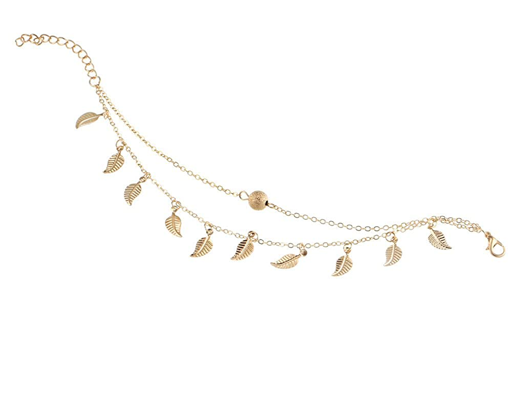 Summer Beach Double Leaves Pendant Anklet Foot Chain Bohemian Handmade Beads Anklet Foot Gothic