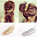 Tinksky 2pcs Feather / Leaf Shaped Hair Clip Pin Claw Hair Accessories (Golden+Silver)