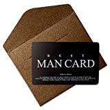 Vanfeis Stainless Steel Funny Junior Best Man Proposal Gifts Cards, The Black MAN CARD Wedding Invitations with Gold Envelopes, Rustic Bridal Party Favors Invites Card - Will You Be My Best Man?