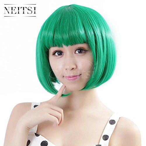 Neitsi 100% Kanekalon Fiber 14(35cm) 160g/pc Womens Girls Cosplay Short Synthetic BOB Hair Wigs Christmas Party (Green)