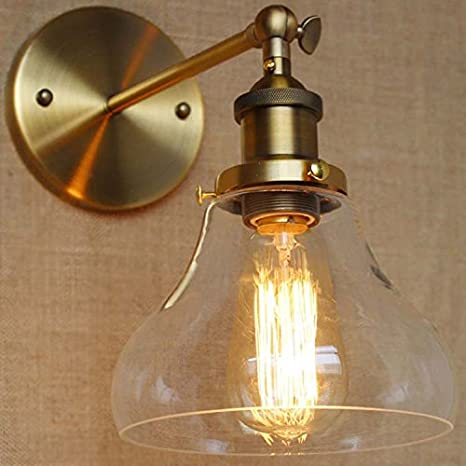 Industrial Single Light Wall Sconce-LITFAD Edison Antique Glass ...