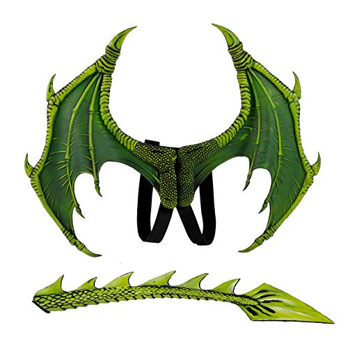 YAHUIPEIUS Children's Dragon Wings Costume Dinosaur Wings and Tail Set (Green)