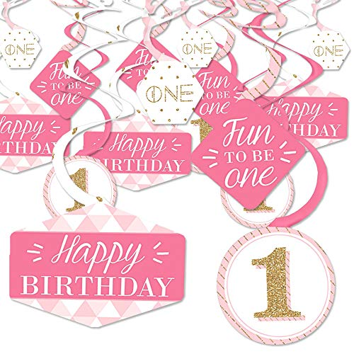 1st Birthday Girl - Fun to be One - First Birthday Party Hanging Decor - Party Decoration Swirls - Set of 40