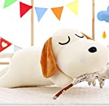 Pinjewelry Home Decoration Soft Toys Stuffed 40cm Dog Lying Puppy Cute and Soft Toy Cuddly Stuffed Plush Perfect Christmas Children Gift(White)
