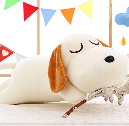 Pinjewelry Home Decoration Soft Toys Stuffed 40cm Dog Lying Puppy Cute and Soft Toy Cuddly Stuffed Plush Perfect Christmas Children Gift(White) by Pinjewelry