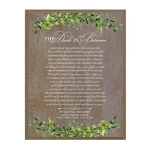 (LifeSong Milestones Personalized The Dash in Between Sympathy Gifts for Loss of Loved one Bereavement Wall Plaque for Loss of Mother Father Child with Leaf Border (Barnwood))