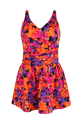 Jinxueer Women's Plus Size Swim Dress Floral Print Ruched Modest Slimming One Piece Skirt Swimsuit (16, ()
