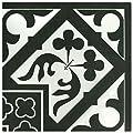 "SomerTile FCDMOABK Kuma Orleans Angulo Porcelain Floor and Wall Tile, 9.75"" x 9.75"", Black"