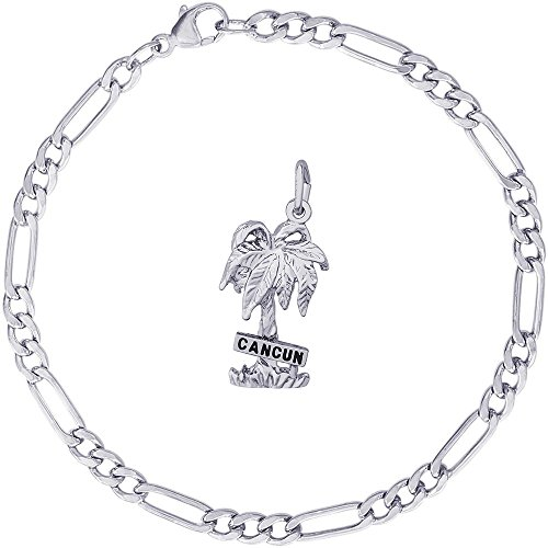 Rembrandt Charms Sterling Silver Cancun Palm Tree Charm on a Classic Figaro Bracelet, 8