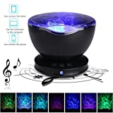 Umiwe Upgraded Version Ocean Wave Light Projector, 12LEDs 7 Models Ocean Wave Night Light with Built-in Mini Music Player and Hanging Holes for Kids Adults Bedroom Living Room Relaxing - Sleep Aider