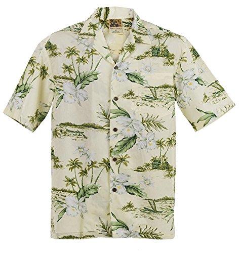 (ORCHID} WinnieFashion Hawaiian Aloha (100% cotton) Shirtin CREAM (L)