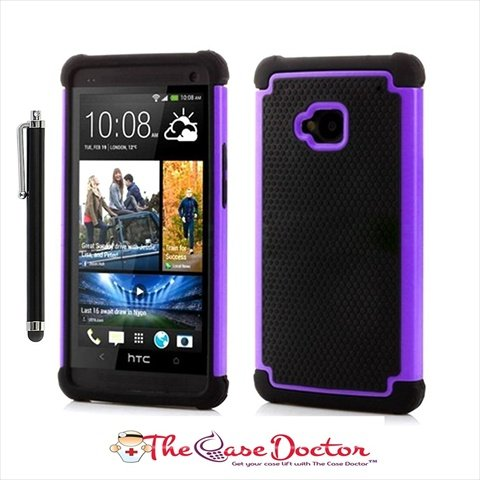 TCD for HTC ONE M7 [PURPLE] Executive Armor Defender Series [HIGH IMPACT] Multi Layer [Hard/Soft Combo] TPU and Hard Plastic Shock Absorbant iPhone Case with [FREE SCREEN PROTECTOR AND STYLUS PEN]