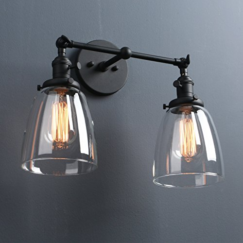 Vanity Glass Shade - Phansthy 2-light Vintage Style Industrial Wall Light Sconce Light Fixture with 5.6